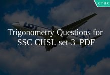 Trigonometry Questions for SSC CHSL set-3 PDF