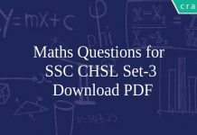 Maths Questions for SSC CHSL Set-3 PDF