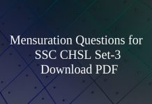 Mensuration Questions for SSC CHSL Set-3 PDF