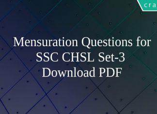 Mensuration Questions for SSC CHSL Set-3 PDF
