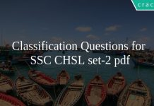 Classification Questions for SSC CHSL set-2 pdf