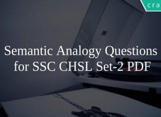Semantic Analogy Questions \nfor SSC CHSL Set-2 PDF