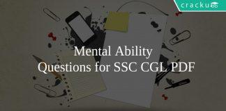 Mental Ability \n Questions for SSC CGL PDF