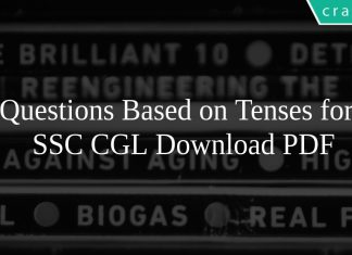 Questions Based on Tenses for SSC CGL PDF