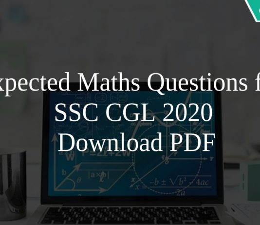 Expected Maths Questions for SSC CGL 2020 PDF