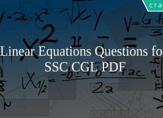 Linear Equations Questions for SSC CGL PDF