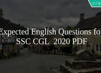 Expected English Questions for SSC CGL 2020 PDF