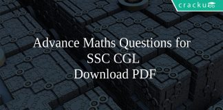 Advance Maths Questions for SSC CGL PDF
