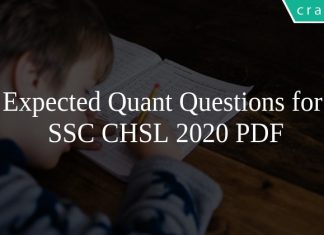 Expected Quant Questions for SSC CHSL 2020 PDF