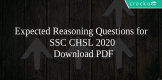 Expected Reasoning Questions for SSC CHSL 2020 PDF