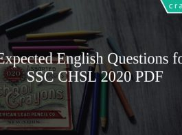 Expected English Questions for SSC CHSL 2020 PDF