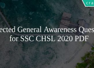 Expected General Awareness Questions for SSC CHSL 2020 PDF