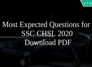 Most Expected Questions for SSC CHSL 2020 PDF