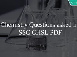 Chemistry Questions asked in SSC CHSL PDF