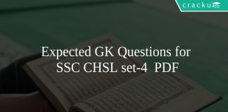 Expected GK Questions for SSC CHSL set-4 PDF