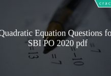 Quadratic Equation Questions for SBI PO 2020 pdf