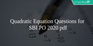 Quadratic Equation Questions for SBI PO 2020 pdf