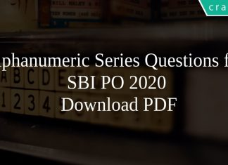 Alphanumeric Series Questions for SBI PO 2020 PDF