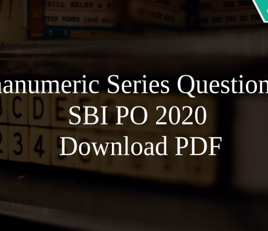 Alphanumeric Series Questions for SBI PO 2020 PDF