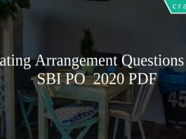 Seating Arrangement Questions for SBI PO 2020 PDF
