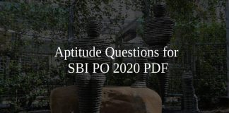 Aptitude Questions for SBI PO 2020 PDF
