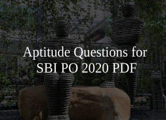 Aptitude Questions for SBI PO 2020 PDF