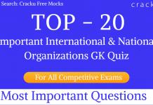 International & National Organizations GK Quiz PDF