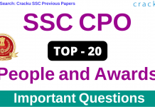 People and Awards Questions for SSC CPO PDF