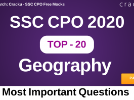 SSC CPO Geography Questions PDF