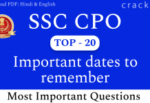 TOP-20 SSC CPO Important Dates Questions PDF