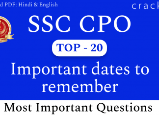 TOP-20 SSC CPO Important Dates Questions PDF