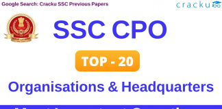 SSC CPO Organisations and their Headquarters Questions