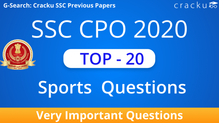 Top-20 SSC CPO Sports Questions PDF