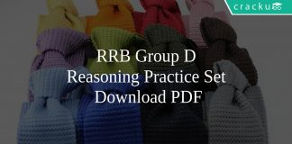 RRB Group D Reasoning Practice Set PDF