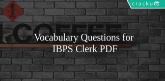 Vocabulary Questions for IBPS Clerk PDF