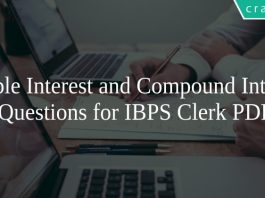 Simple Interest and Compound Interest Questions for IBPS Clerk PDF