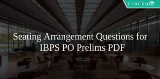 Seating Arrangement Questions for IBPS PO Prelims PDF