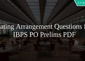 Seating Arrangement Questions for IBPS PO Prelims PDF