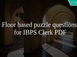Floor based puzzle questions for IBPS Clerk PDF