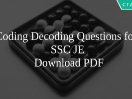 Coding Decoding Questions for SSC JE PDF