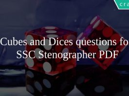 Cubes and Dices questions for SSC Stenographer PDF