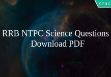 RRB NTPC Science Questions PDF