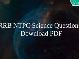 RRB NTPC Science Questions PDF
