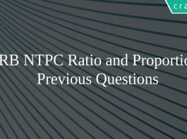 RRB NTPC Ratio and Proportion Previous Questions