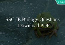 SSC JE Biology Questions PDF