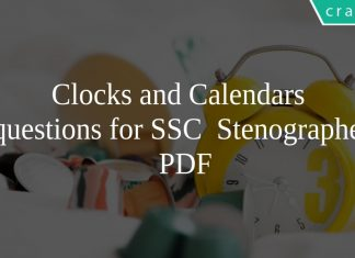 Clocks and Calendars questions for SSC Stenographer PDF