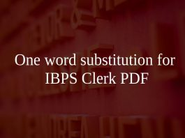 One word substitution for IBPS Clerk PDF