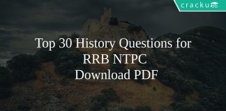 Top 30 History Questions for RRB NTPC