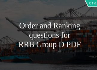 Order and Ranking questions for RRB Group D