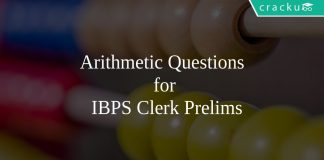 Arithmetic Questions for IBPS Clerk Prelims
